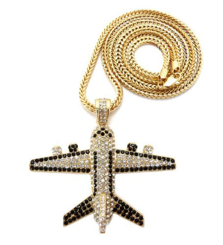 "Iced Out Jetliner Pendant w/ 4mm 36"" Franco Chain in Gold Tone MHP14G"
