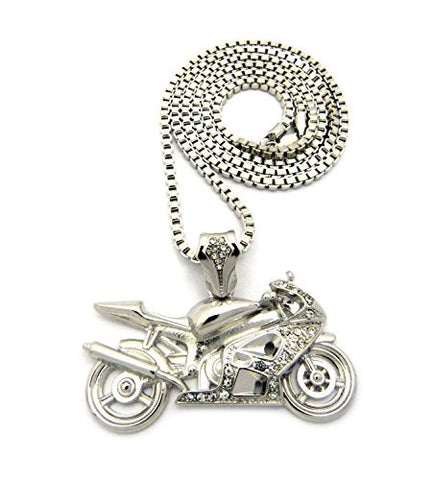 "Stone Stud Motorcycle Pendant with 3mm 30"" Box Chain Necklace - Silver-Tone"
