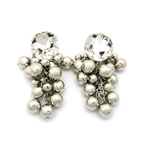 Ball Cluster Rhinestone Stud Drop Earrings in Silver-Tone