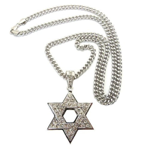 "Hollow Iced Out Star of David Pendant with 6mm 36"" Miami Cuban Chain Necklace in Silver-Tone"