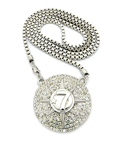 "Five Percent Nation Iced Out Star Pendant w/ 36"" Box Chain - Silver Tone XP929RBX"