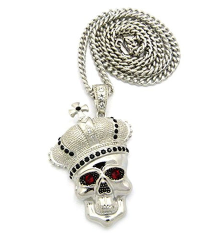 "Royal Crown Skull Head Pendant with 6mm 36"" Cuban Link Chain - Black/Silver-Tone"