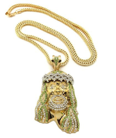 "Crown of Thorns Jesus Paved Pendant with 36"" Franco Chain Necklace - Lime/Clear Gold-Tone MP449G-LMCR"