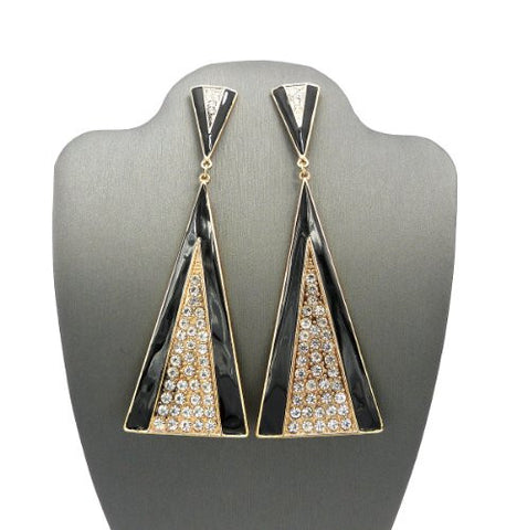 Black Accented Eventail Look Rhinestone Drop Earrings DE1094GDBLK