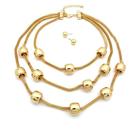 Tube Ring Charm Three Strand Mesh Chain Fashion Necklace with Ball Earrings in Gold-Tone