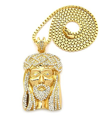 "Iced Out Crown of Thorns Jesus Pendant w/ 36"" Box Chain - Gold Tone XP474GBX"