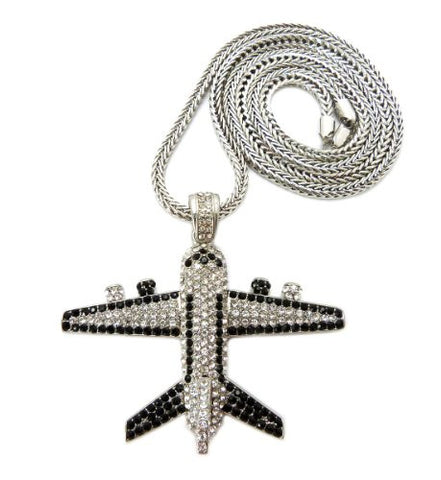 "Iced Out Jetliner Pendant w/ 4mm 36"" Franco Chain in Silver Tone MHP14R"