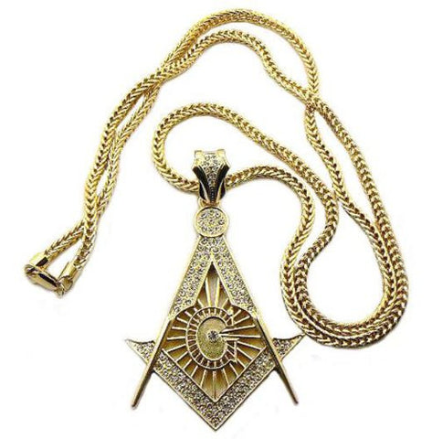 "Iced Out Square and Compass Pendant with 36"" Franco Chain Necklace in Gold-Tone MP544G"