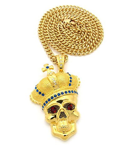 "Royal Crown Skull Head Pendant with 6mm 36"" Cuban Link Chain - Blue/Gold-Tone"