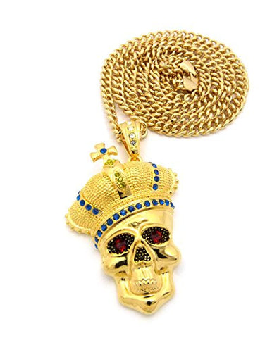 "Royal Crown Skull Head Pendant with 6mm 36"" Cuban Link Chain - Blue/Yellow/Gold-Tone"