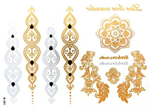 Lotus Flower Filigree Metallic Sticker Tattoo in Gold/Silver-Tone (4 Sheets)
