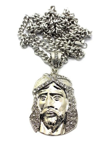 "Iced Out Jesus Pendant in Silver Tone w/ 6mm 36"" Cuban Chain CP31R"