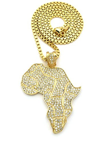 "Iced Out African Continent Pendant w/36"" Box Chain Necklace - Gold Tone XP550GBX"