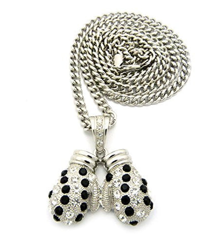 "Rhinestone Studded Boxing Gloves Pendant 6mm 36"" Cuban Link Chain Necklace - Black/Silver-Tone"