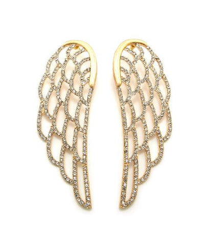 Pave Angel Wing Big Drop Earrings in Gold-Tone