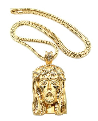 "Gold Tone Crown of Thorns Jesus Face Pendant w/ 4mm 36"" Franco Chain MLP056G"
