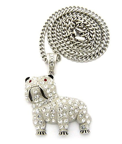 "Pave Bulldog Pendant with 6mm 36"" Cuban Link Chain Necklace - Silver-Tone"