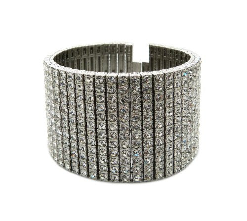 "Iced Out 12 Row Rhinestone Bracelet 8.25"" with Metal Clasp - Silver-Tone"