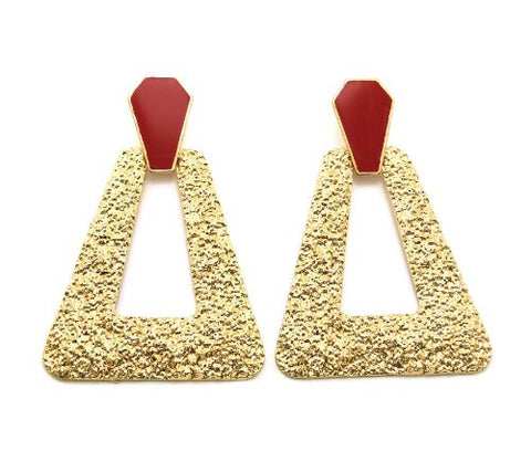 Hammered Trapezoid Doorknocker Earrings in Gold-Tone with Red Accent