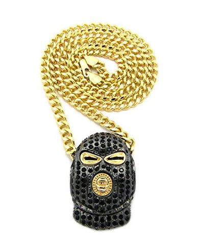 "Iced Out Goon Ski Mask Man Pendant with 5mm 24"" Cuban Link Chain - Black/Gold-Tone"