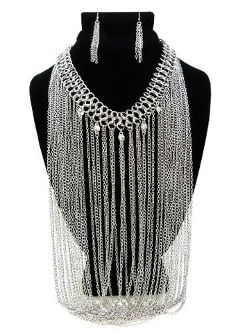 Rhinestone Charm Silver Tone Drop Chain Necklace w/ Earrings DS1017RDCLR
