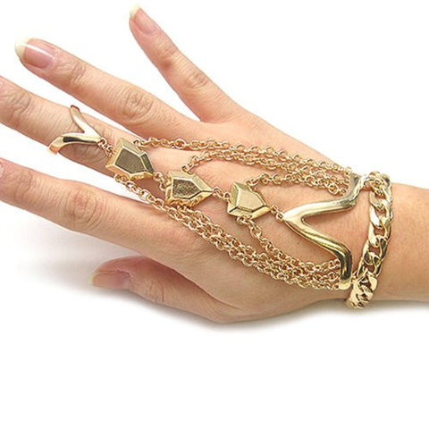 3 Row Multi Charm Bracelet Ring Hand Jewelry