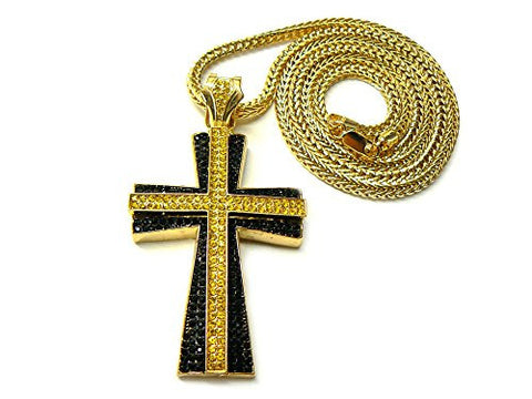"Iced Out Two Stack Pattee Cross Pendant 36"" Franco Chain Necklace - Black/Yellow MP667BKYL"