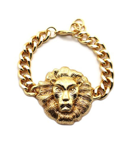 Celebrity Style Lion Head Charm Chain Bracelet in Gold-Tone BLQ157G