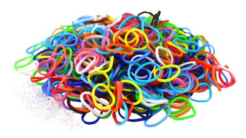 "Multi Color Latex Free Silicone Loom Bands - 1800 Bands & 72 ""S"" Hook Clips!"