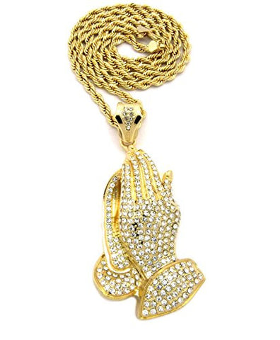 "Iced Out Praying Hands Pendant w/ 5mm 30"" Rope Chain Necklace in Gold-Tone"