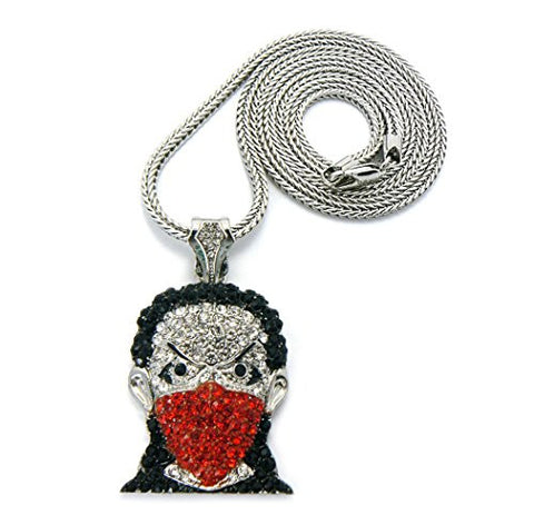 "Iced Out Red Mask Ninja Goon Pendant with 36"" Franco Chain Necklace - Red/Silver-Tone GAP17-2R"