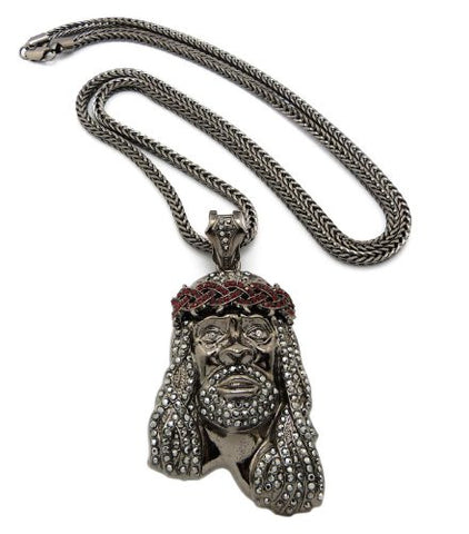 "Crown of Thorns Jesus Paved Pendant with 36"" Franco Chain Necklace - Hematite/Red-Tone MP449HE-HERD"