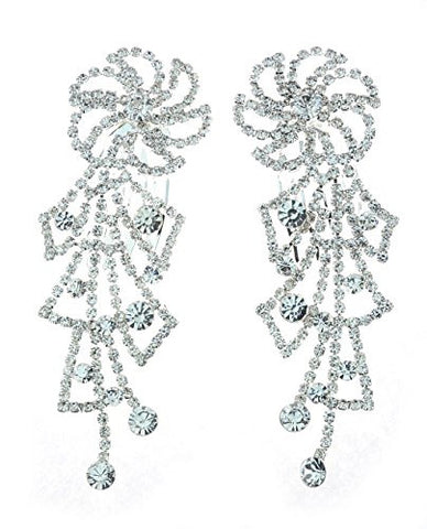 NYfashion101 Women's Rhinestone Studded Floral Pin Wheel Pair Hair Comb NHCY2004SY