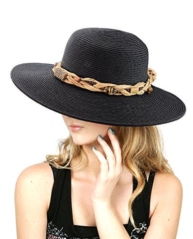 NYfashion101 Women's Stone Beaded Weaved Straw Band Black Panama Sun Hat
