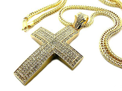 "Iced Out 5 Row Thick Cross Pendant with 36"" Franco Chain Necklace - Gold-Tone MP536G"