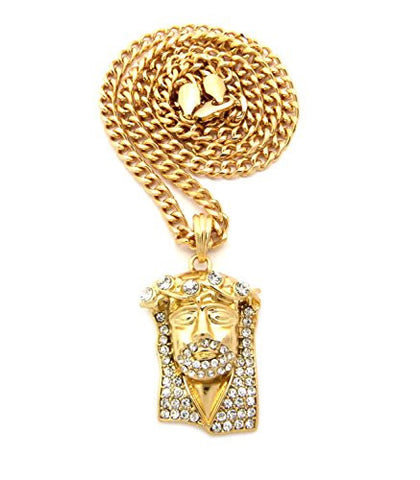 "Stone Crown Jesus Pendant 5mm 24"" Cuban Link Chain Necklace in Gold-Tone"