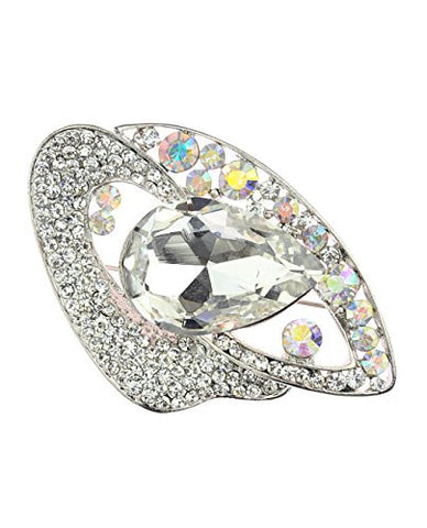 NYfashion101 Rhinestone Studded Teardrop Gem Stone Brooch Pin
