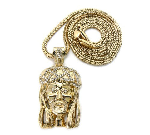 "Crown of Thorns Jesus Pendant in Gold Tone w/ 36"" Franco Chain GAP14G"