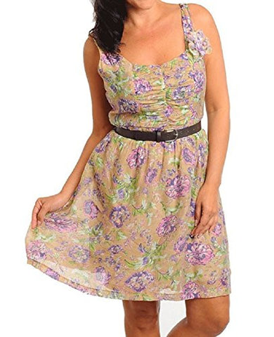 NYfashion101 Sleeveless Flower Print Sheer Dress w/Belt Plus Sizes CN079693
