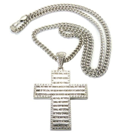 Bible Verse Cross Pendant w/ Miami Cuban Chain