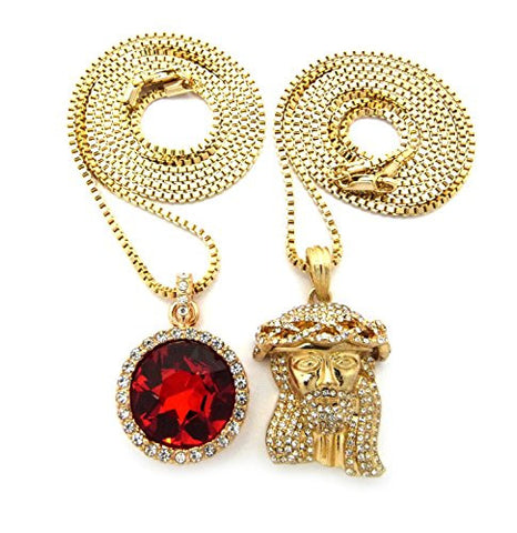 Micro round faux ruby stone pave jesus pendant 2mm 30 box chain micro round faux ruby stone pave jesus pendant 2mm 30 box chain necklace set aloadofball Images