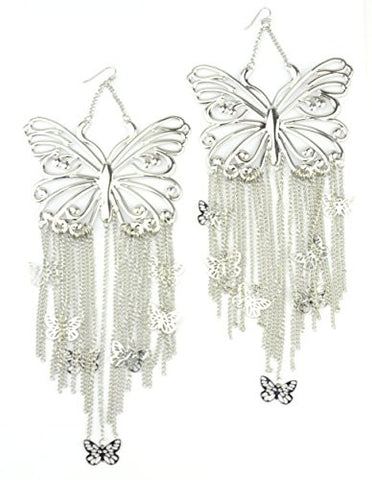 Butterfly Drop Chain Dangle Earrings in Silver-Tone E4028RCR