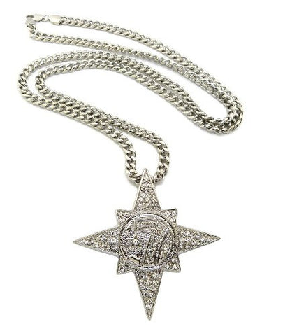 "Iced Out 5 Percenter Pendant with 36"" Miami Cuban Chain Necklace in Silver-Tone CP118R"