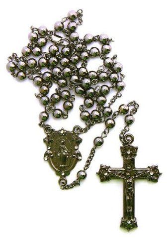 "Hematite Tone Mother Mary w/ Jesus Cross Pendant 36"" Rosary Necklace R21HE"