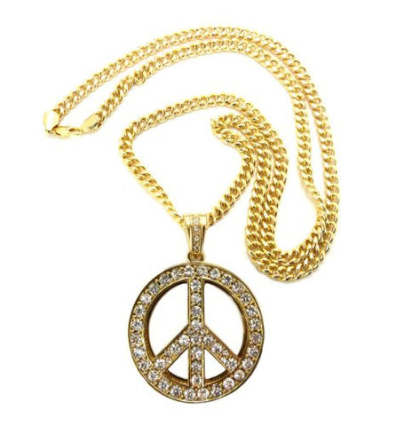 "Pave Peace Sign Pendant in Gold Tone w/ 6mm 36"" Miami Cuban Chain CP28G"