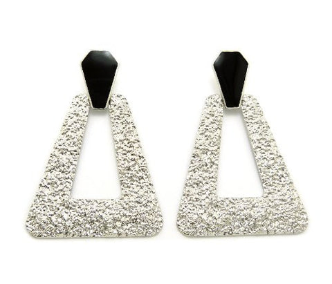 Hammered Trapezoid Doorknocker Earrings in Silver-Tone with Black Accent