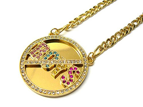 "NO BOYS Pave Miror Medal 5mm 18"" Figaro Chain Necklace in Multi/Gold-Tone"