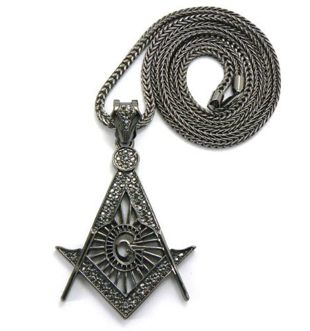 "Iced Out Square and Compass Pendant with 36"" Franco Chain Necklace in Hematite Tone MP544HE"