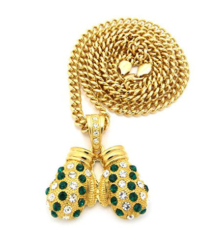 "Rhinestone Studded Boxing Gloves Pendant 6mm 36"" Cuban Link Chain Necklace - Green/Gold-Tone"