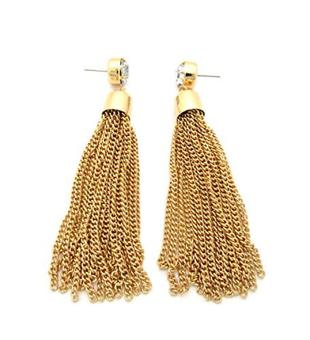 Chain Tassel Rhinestone Charm Drop Earrings in Gold-Tone
